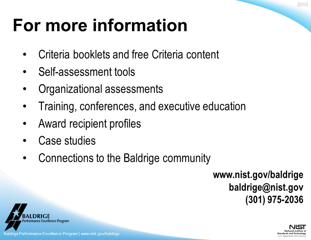 baldrige criteria for performance excellence pdf