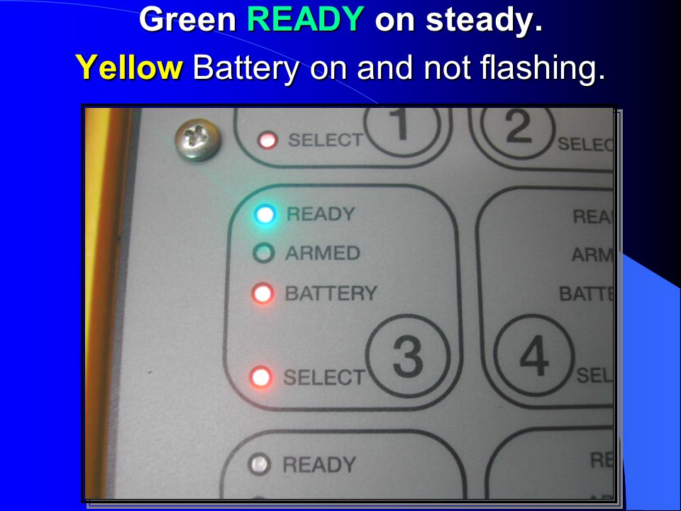 Green READY on steady. Yellow Battery on and not flashing.