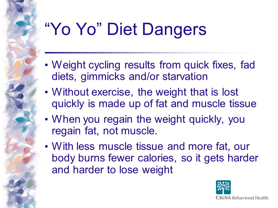 Yo Yo Diet Dangers Weight cycling results from quick fixes, fad diets, gimmicks and/or starvation.