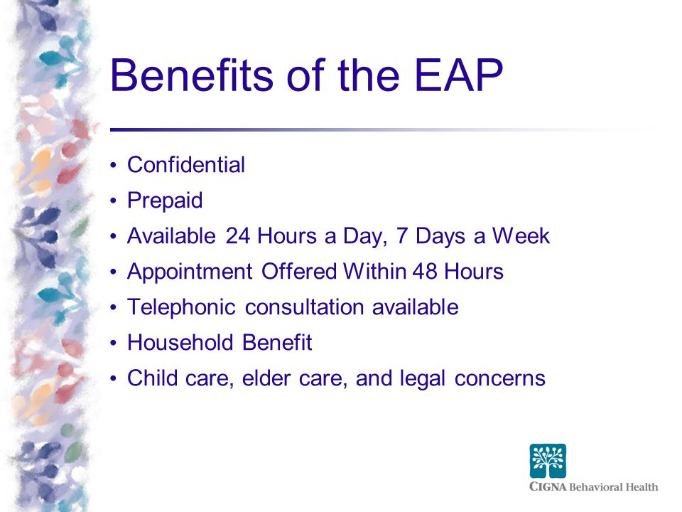 Benefits of the EAP Confidential Prepaid