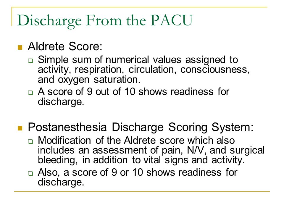Discharge From the PACU