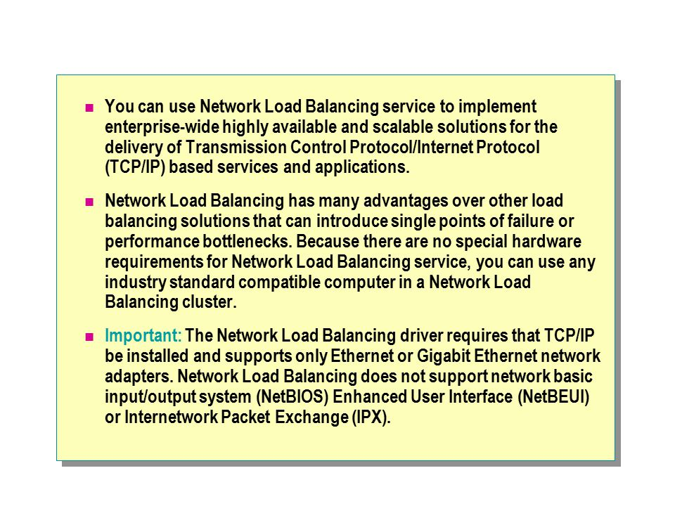 Module 8 concepts of a network load balancing cluster ppt download you can use network load balancing service to implement enterprise wide highly available and scalable publicscrutiny Images