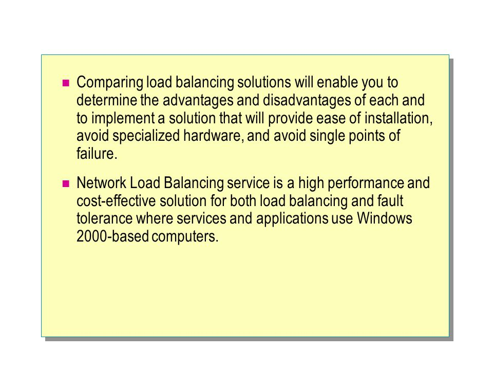 Module 8 concepts of a network load balancing cluster ppt download comparing load balancing solutions will enable you to determine the advantages and disadvantages of each and publicscrutiny Images