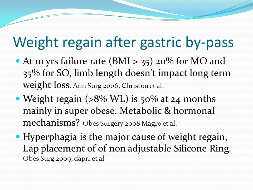 Weight Regain After Gastric By Pass Ppt Video Online Download