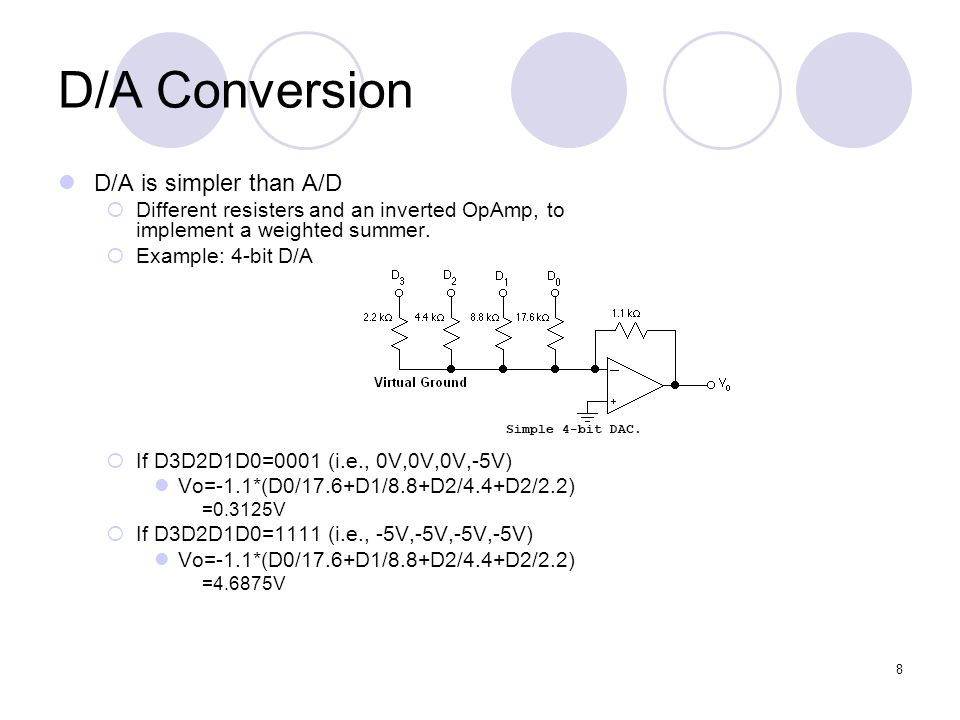 D/A Conversion D/A is simpler than A/D
