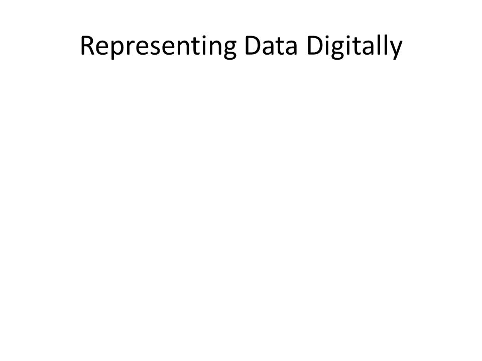 Representing Data Digitally