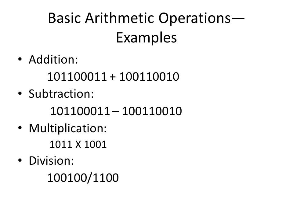 Basic Arithmetic Operations—Examples