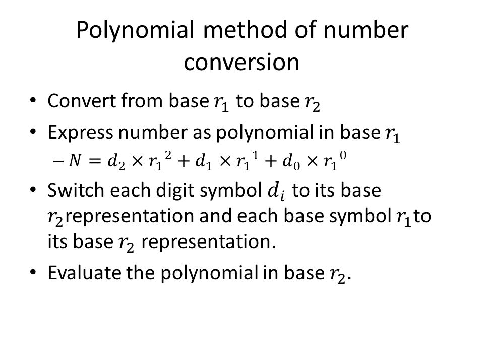 Polynomial method of number conversion
