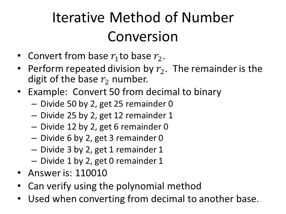 Iterative Method of Number Conversion