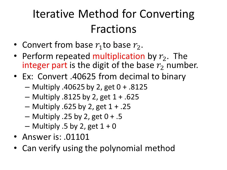 Iterative Method for Converting Fractions