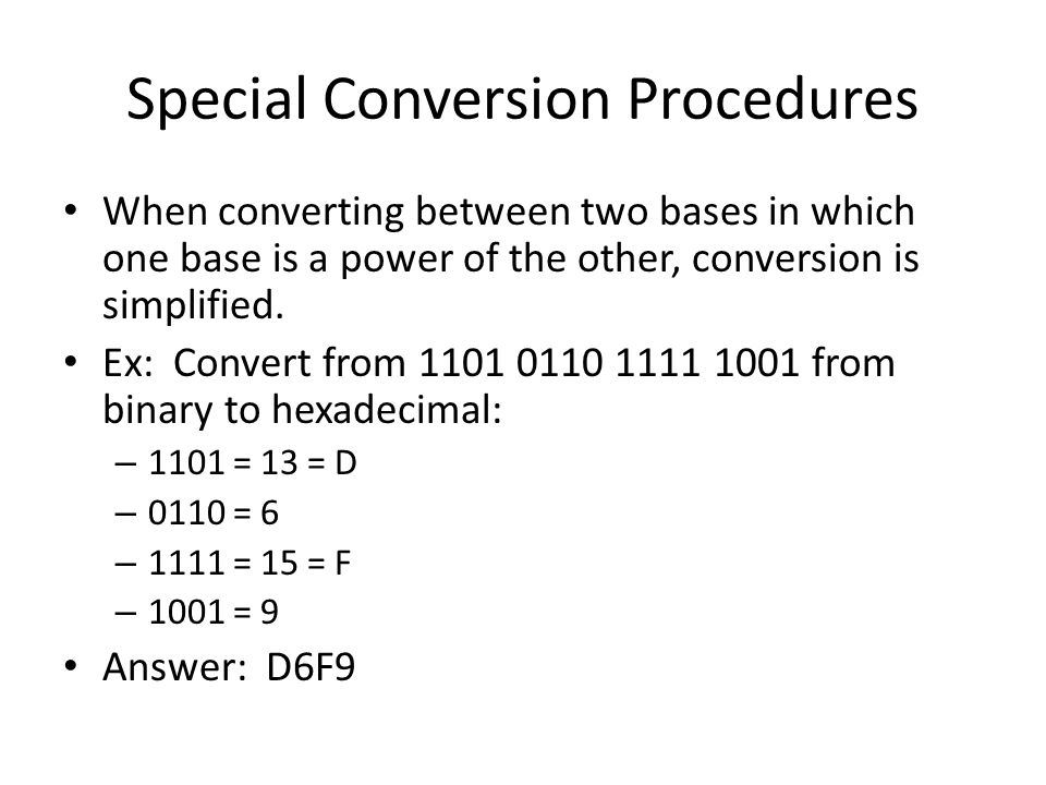 Special Conversion Procedures