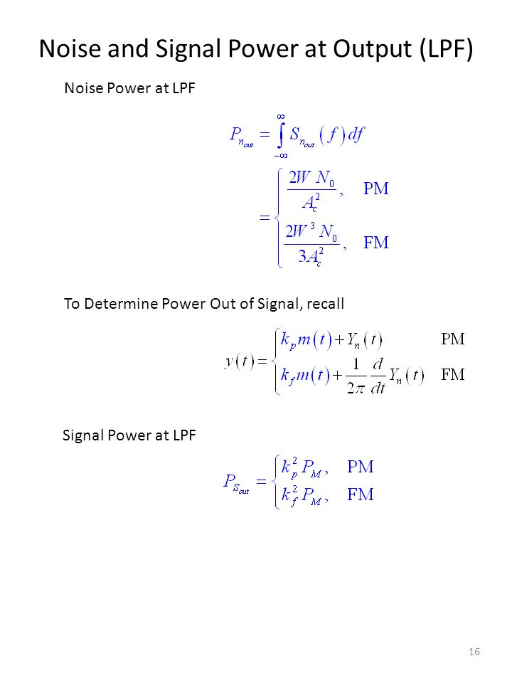 Noise and Signal Power at Output (LPF)