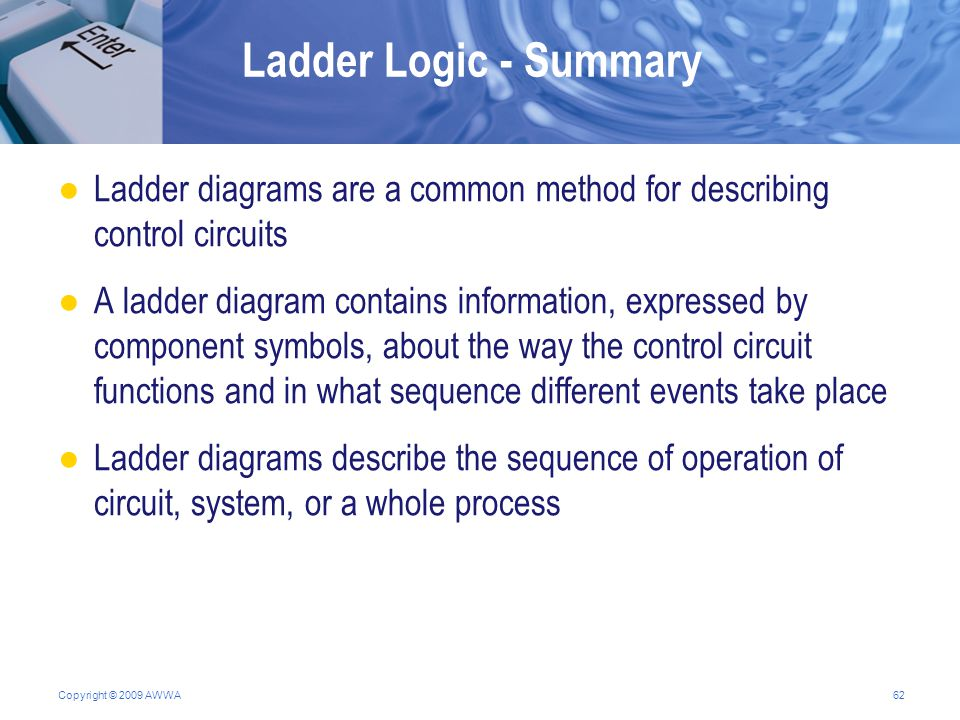 High tech operator certificate program ppt download ladder logic summary ladder diagrams are a common method for describing control circuits ccuart Gallery
