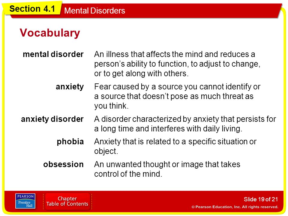 Vocabulary mental disorder