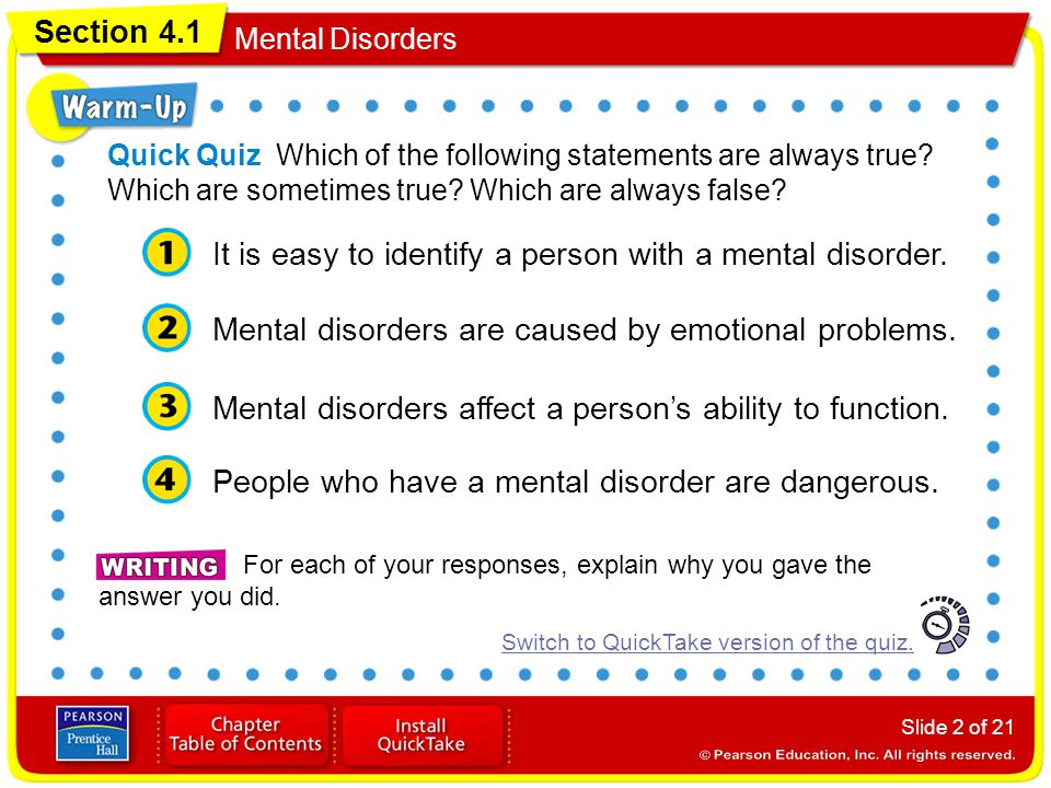 It is easy to identify a person with a mental disorder.
