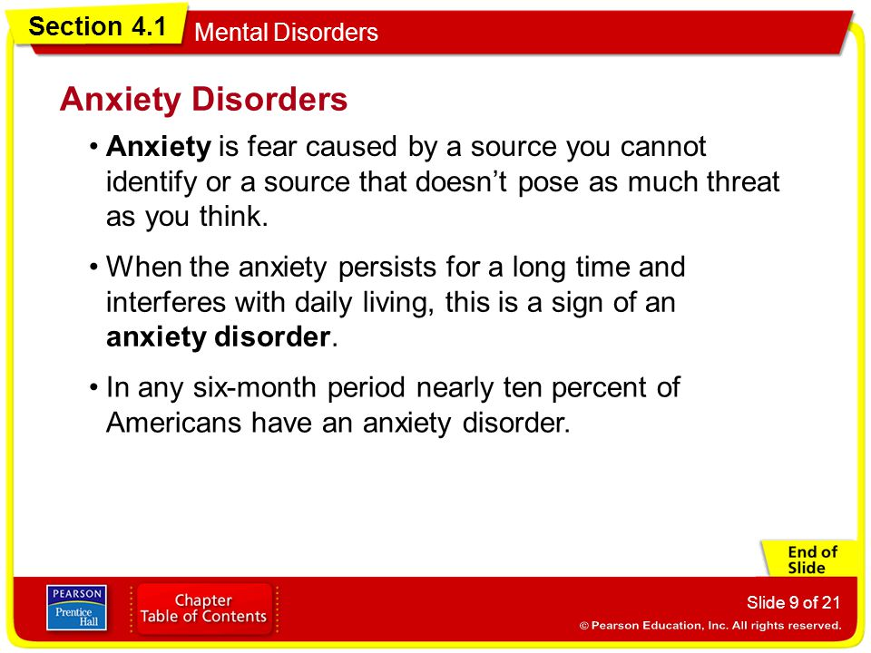 Anxiety Disorders Anxiety is fear caused by a source you cannot identify or a source that doesn't pose as much threat as you think.