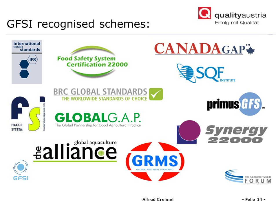 GFSI recognised schemes: