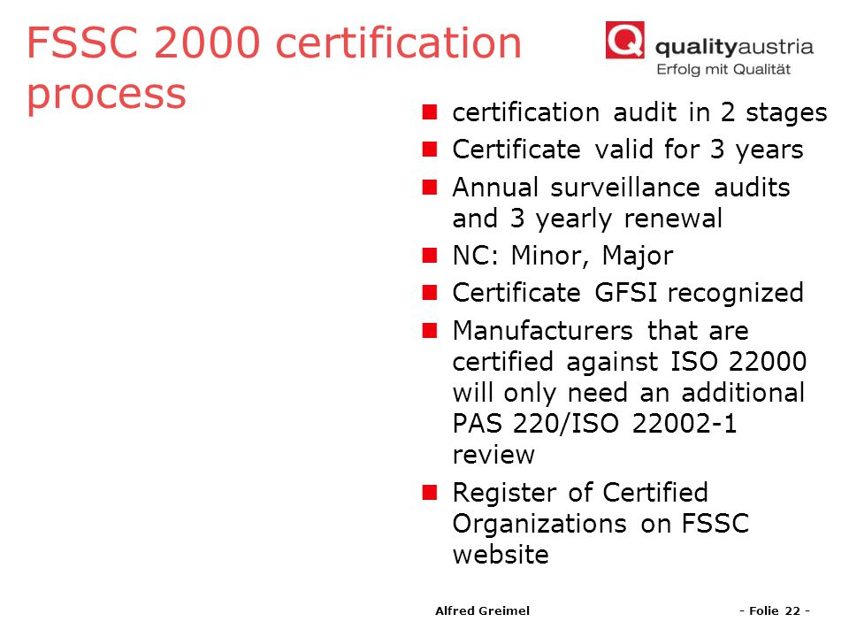 FSSC 2000 certification process