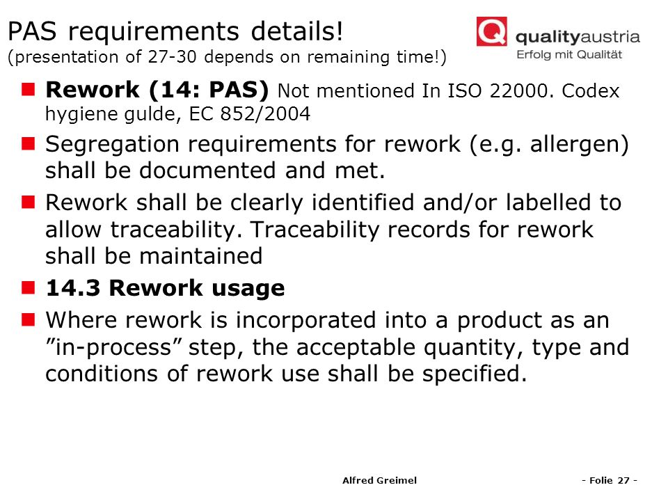 PAS requirements details