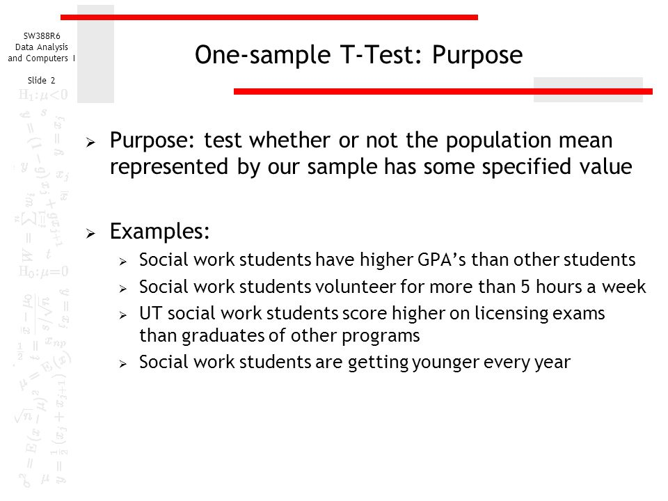 one sample t test of a population mean ppt download