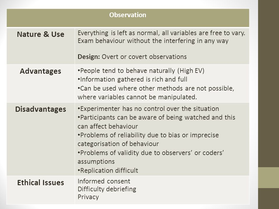 controlled observation advantages and disadvantages