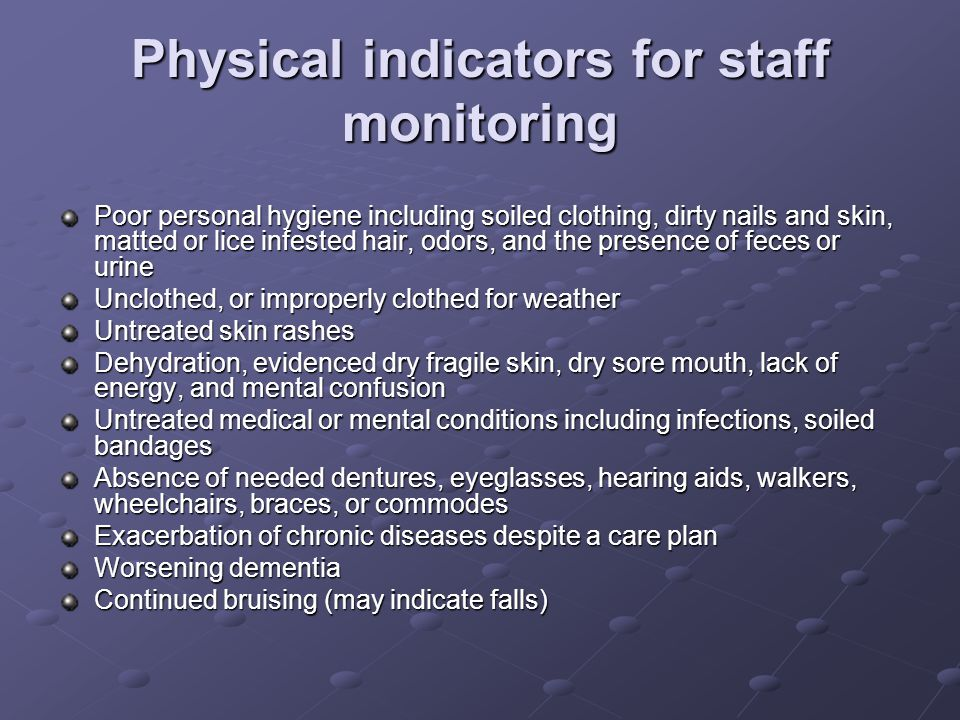 Physical indicators for staff monitoring