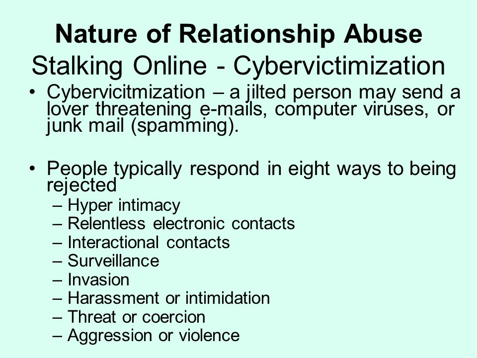 Nature of Relationship Abuse Stalking Online - Cybervictimization