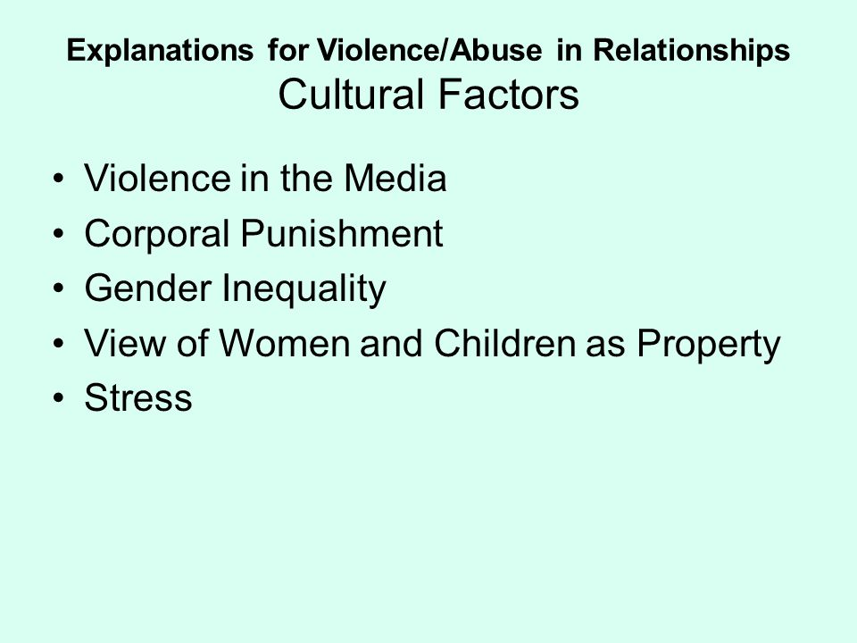 Explanations for Violence/Abuse in Relationships Cultural Factors