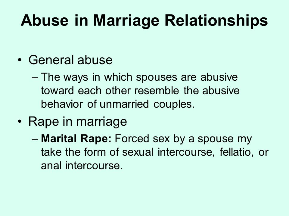 Abuse in Marriage Relationships