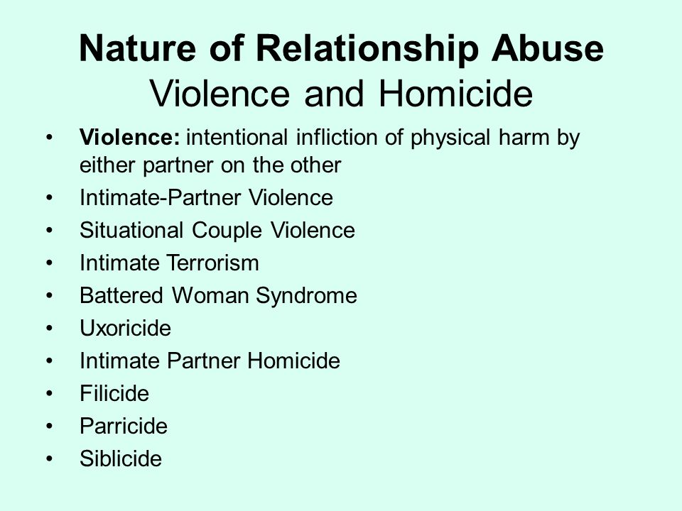 Nature of Relationship Abuse Violence and Homicide