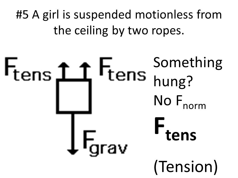 #5 A girl is suspended motionless from the ceiling by two ropes.
