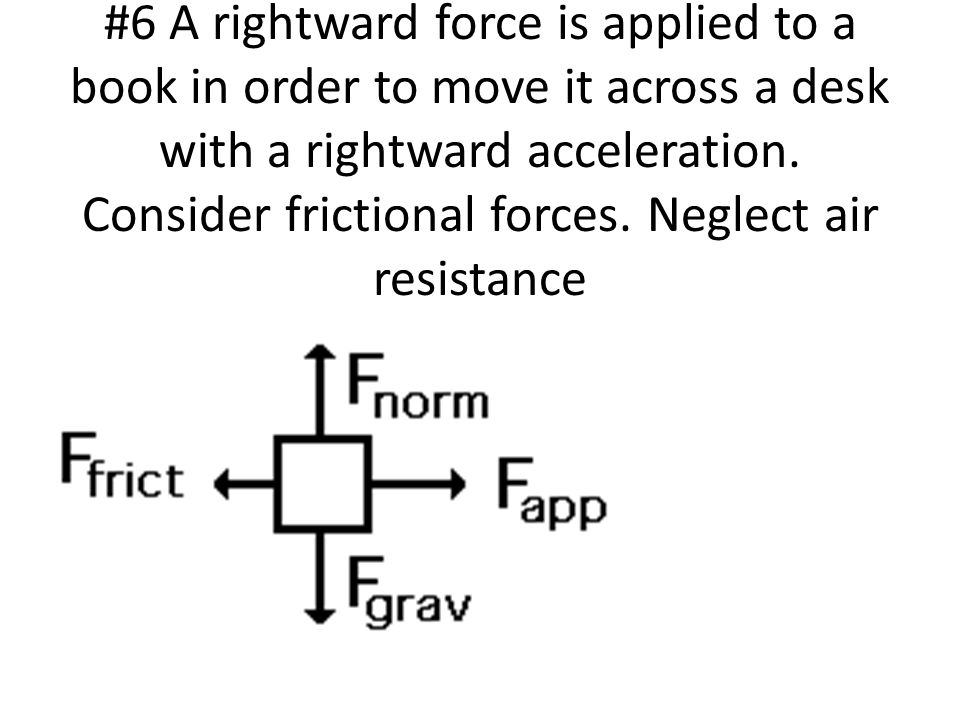 #6 A rightward force is applied to a book in order to move it across a desk with a rightward acceleration.