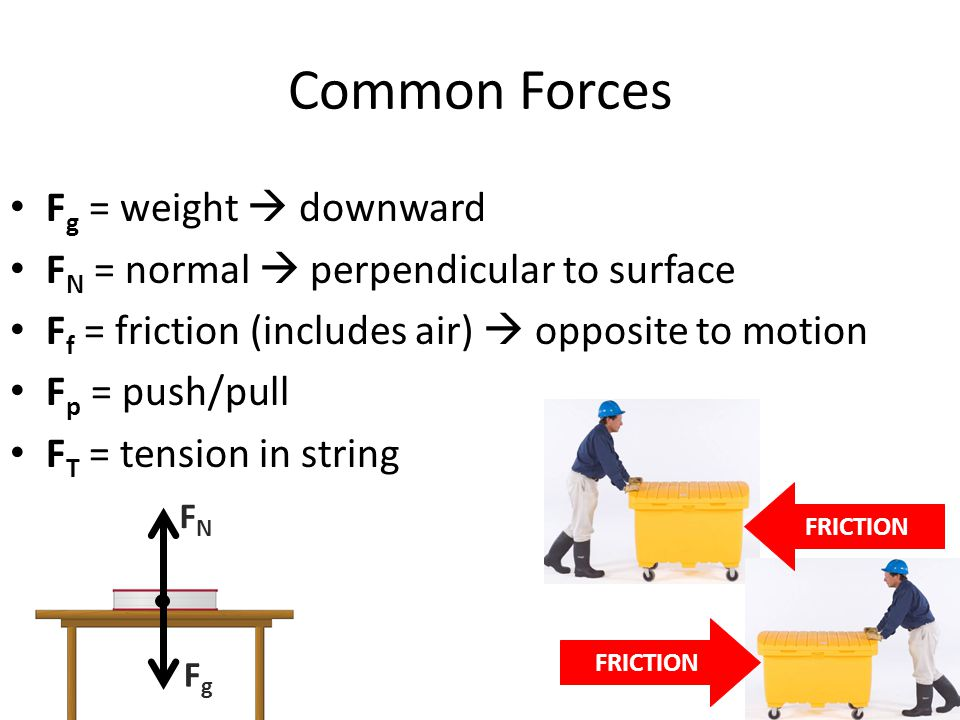 Common Forces Fg = weight  downward