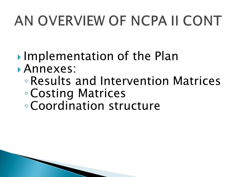 AN OVERVIEW OF NCPA II CONT