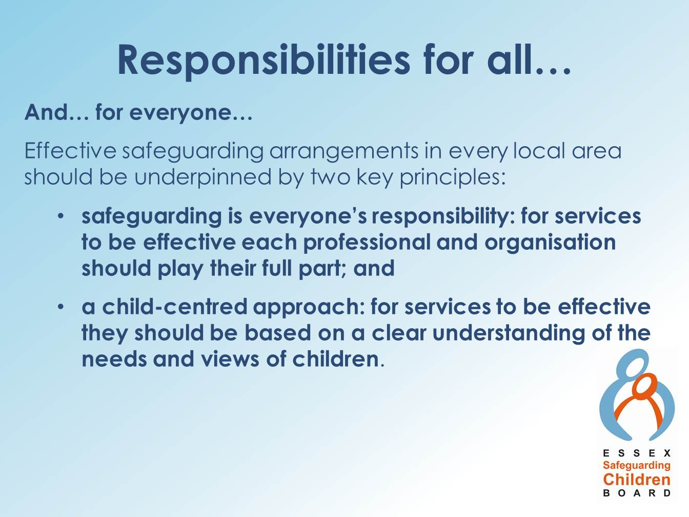 Responsibilities for all…