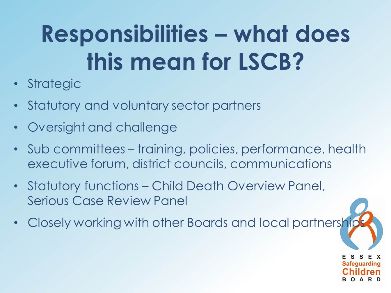 Responsibilities – what does this mean for LSCB