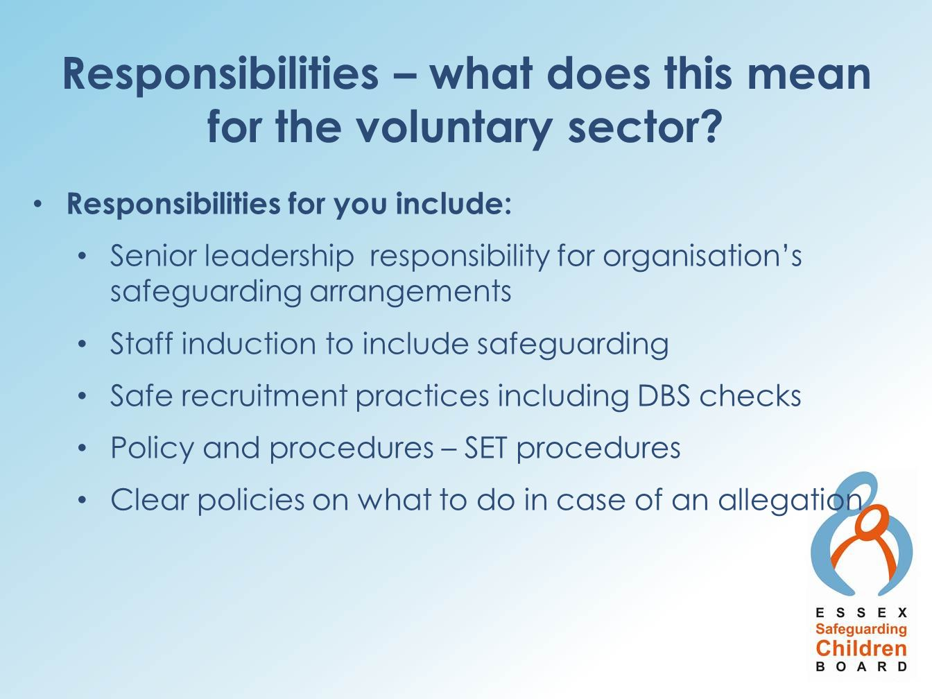 Responsibilities – what does this mean for the voluntary sector