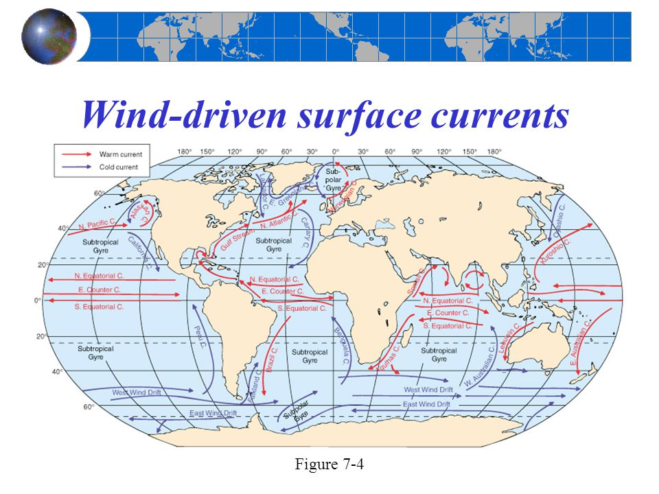 Wind-driven surface currents