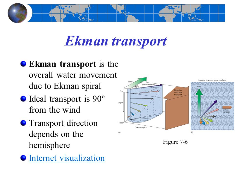 Ekman transport Ekman transport is the overall water movement due to Ekman spiral. Ideal transport is 90º from the wind.