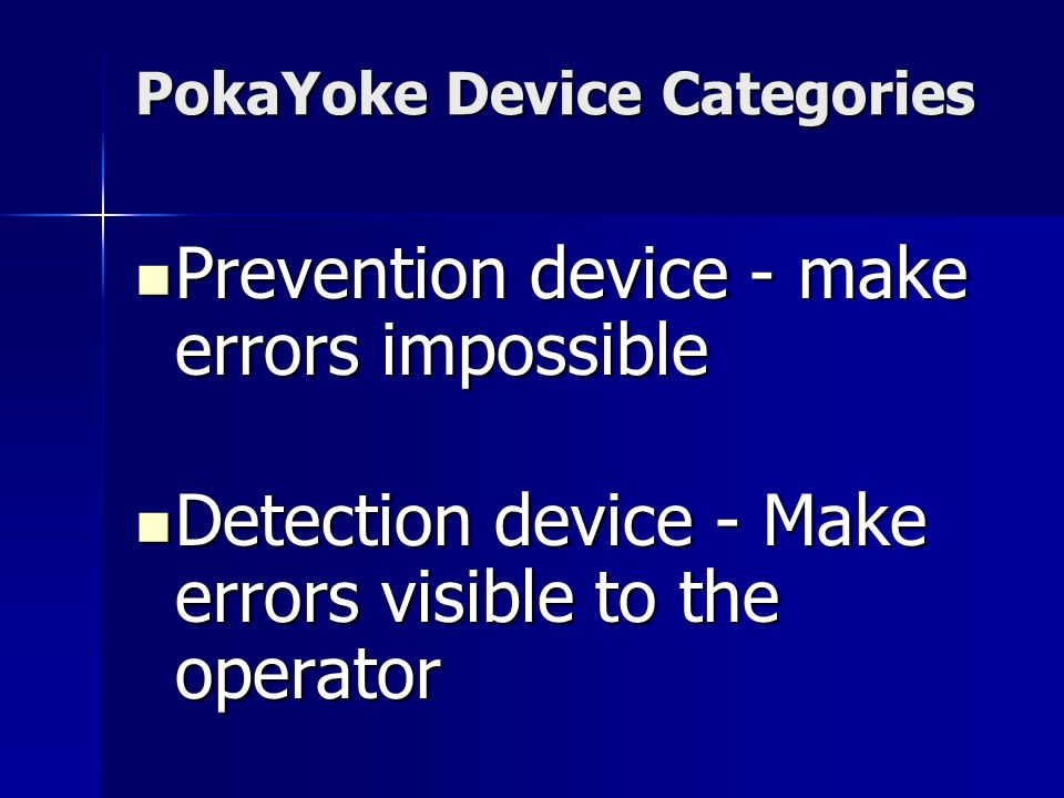 PokaYoke Device Categories