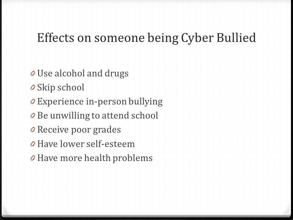 Effects on someone being Cyber Bullied