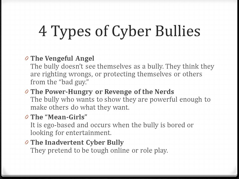 4 Types of Cyber Bullies