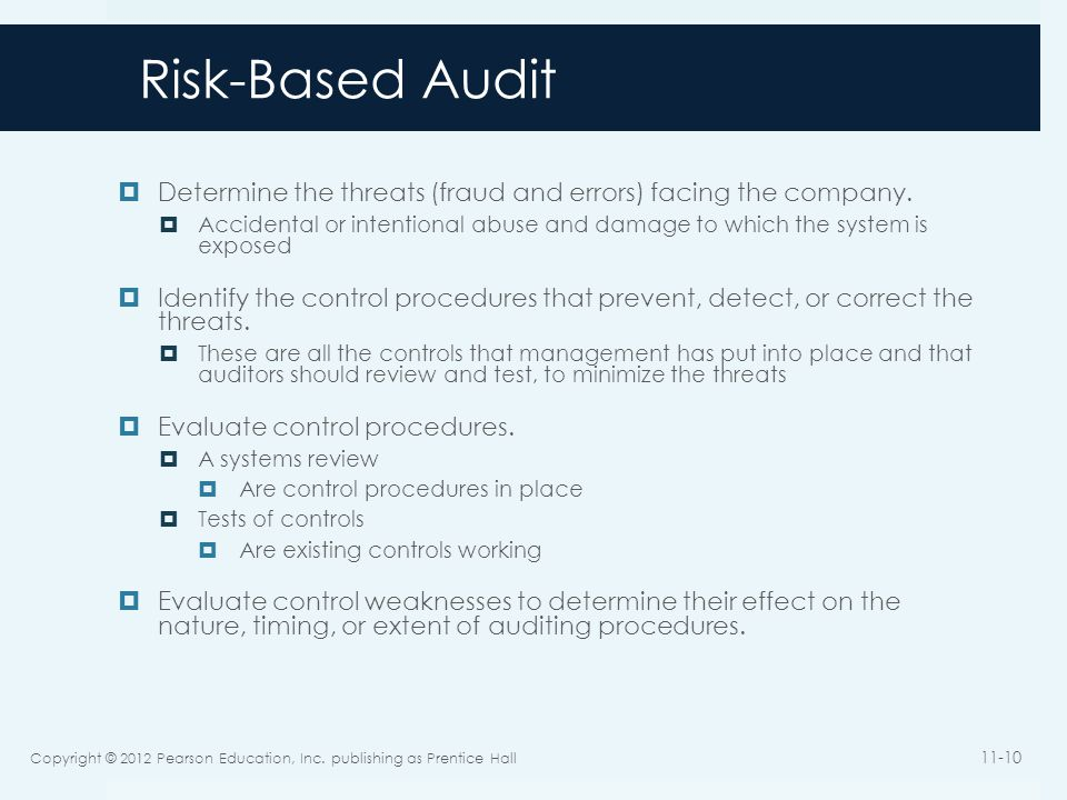 Risk-Based Audit Determine the threats (fraud and errors) facing the company.