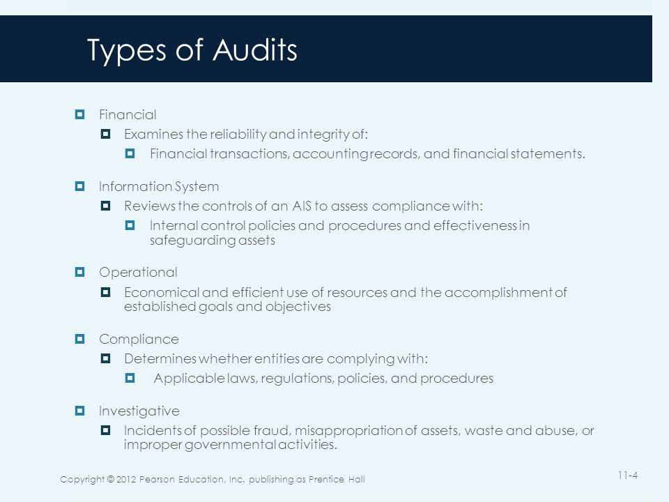Types of Audits Financial Examines the reliability and integrity of: