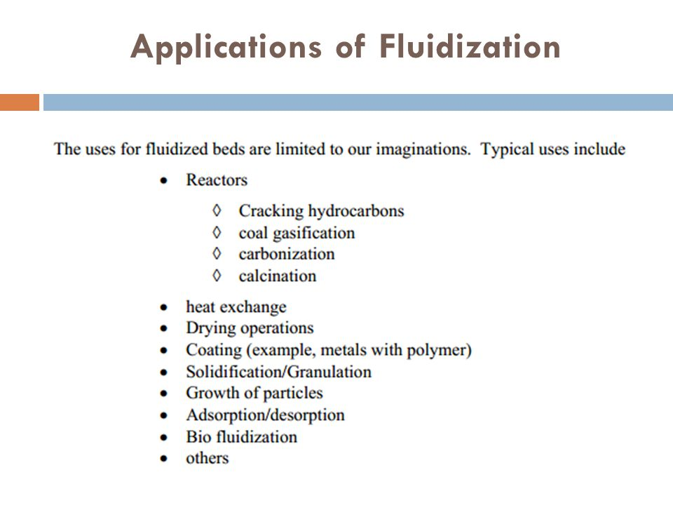 Applications of Fluidization