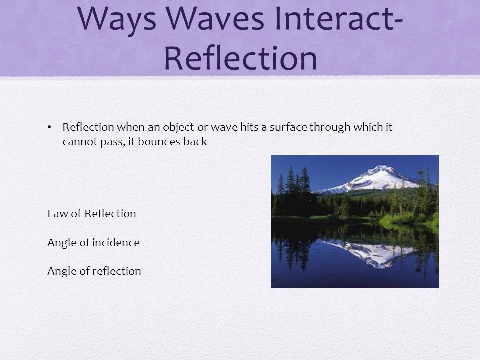 Ways Waves Interact- Reflection