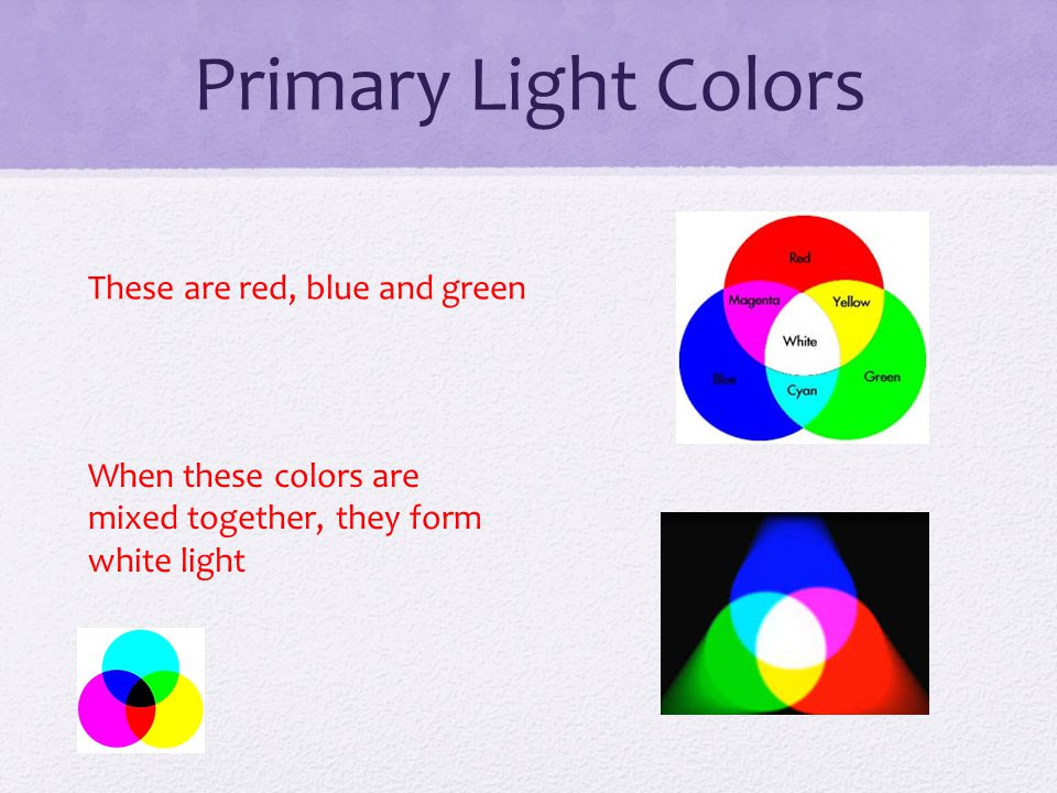 Primary Light Colors These are red, blue and green