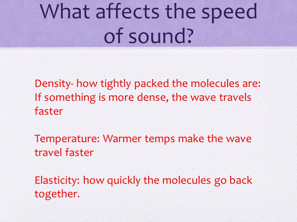 What affects the speed of sound