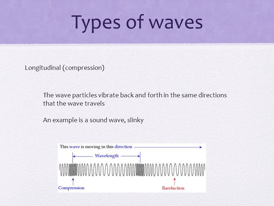 Types of waves Longitudinal (compression)