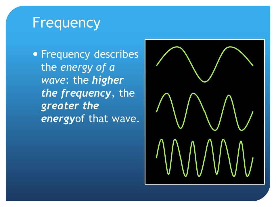 Frequency Frequency describes the energy of a wave: the higher the frequency, the greater the energyof that wave.